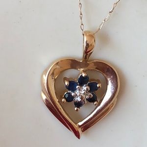 Jewelry - Vintage 14K yellow gold  Sapphire? heart necklace